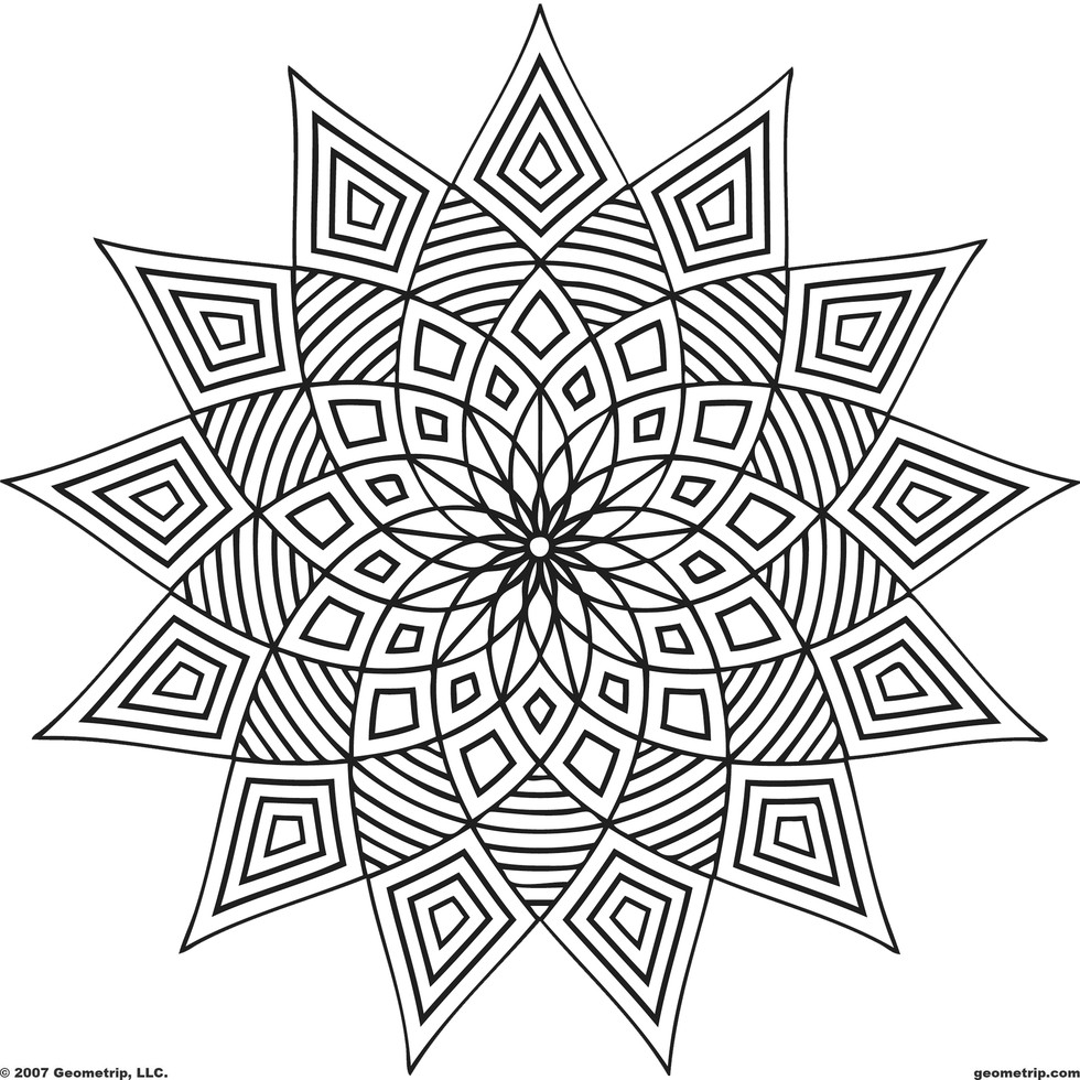 These printable mandala and abstract coloring pages for Stress relief coloring pages online