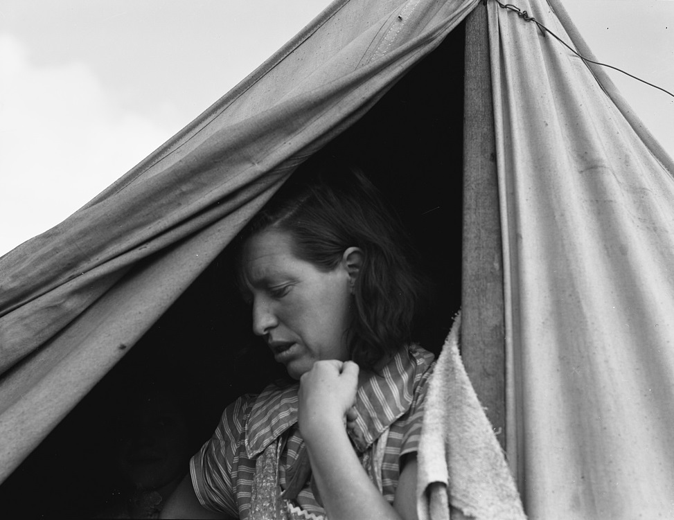 Woman in mobile camp, Oregon
