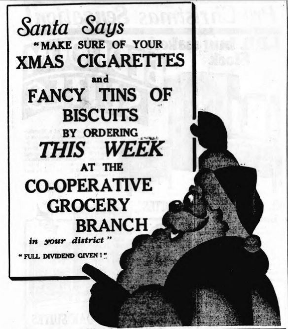 "Santa says... ""Make sure of your Xmas cigarettes"""