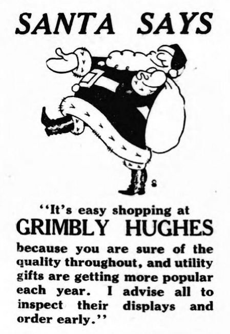 "Santa says... ""It's easy shopping at Grimbly Hughes"""