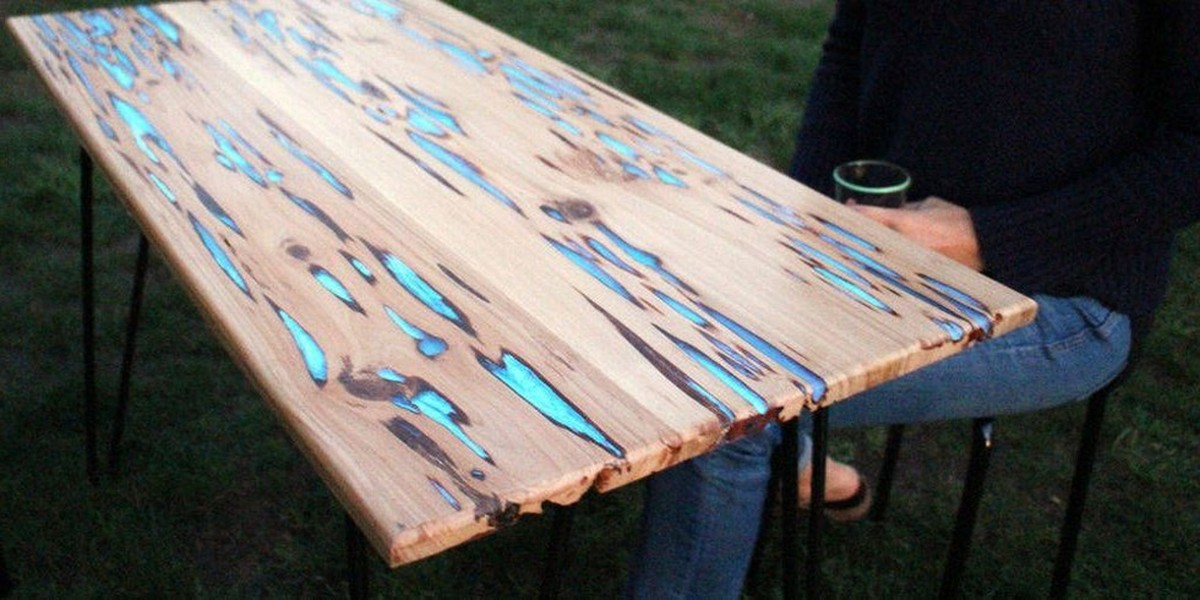 this is how to make a stunning glow in the dark wood table higher perspective. Black Bedroom Furniture Sets. Home Design Ideas