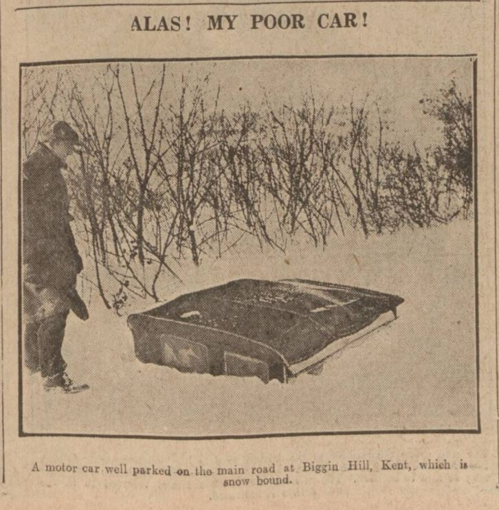 A car is buried up to the roof in Biggin Hill, Kent