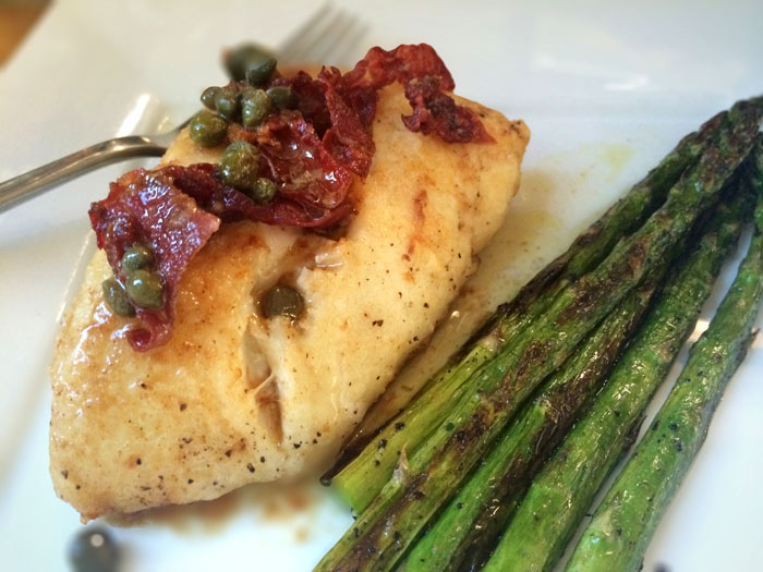 Pan Roasted Halibut with Prosciutto, Canna Butter and White Wine Sauce