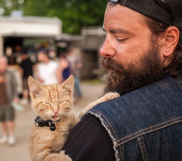 Biker Saves Injured Kitten and Continues His Trip While Caring for ... 291a7dcf0