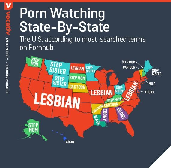 Pornhub And Vocativ Break Down Most Searched For Porn In The - Pornhub porm map of us