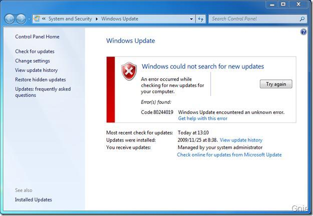 Image result for windows update error 80244019 windows 7