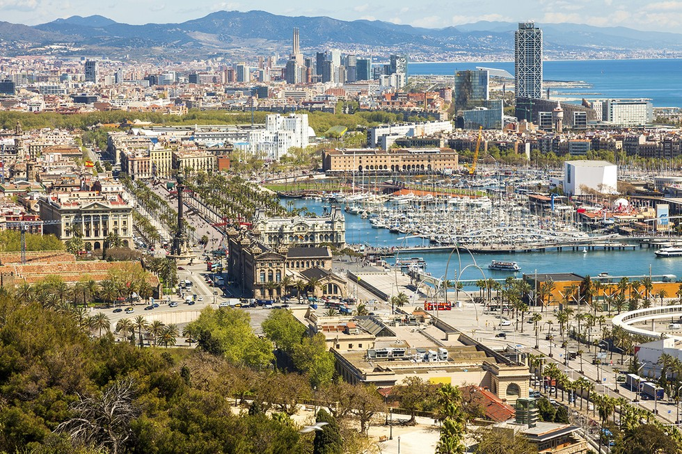 Aerial view of the city in Barcelona, Spain