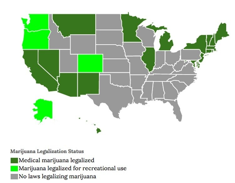 The Carbon Footprint Of Growing Pot And The Quest For Organic Weed - Us states pot map