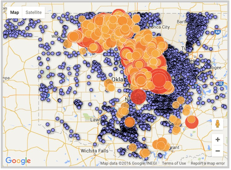 Lawsuit Filed Over Oklahomas Fracking Earthquakes As Its Third - Us fracking map 2016