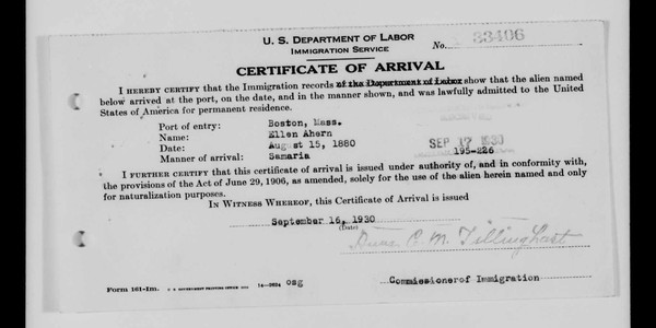 Certificate of arrival