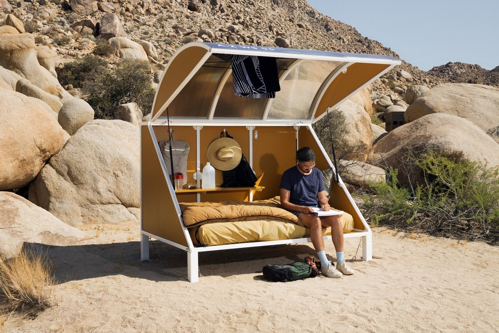 Portable Camping Pods : Wagon station encampment offers pod living in joshua tree