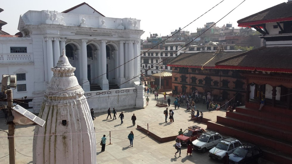 View of city buildings in Nepal