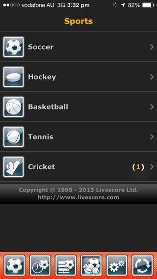 Screen grab of LiveScore showing a list of sports available