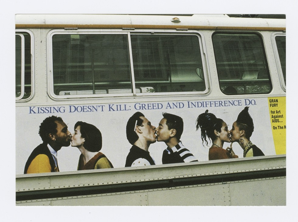 Gran Fury, Kissing Doesn't Kill: Greed and Indifference Dobus poster. Art Against AIDS/On The Road and Creative Time, Inc. 1989.