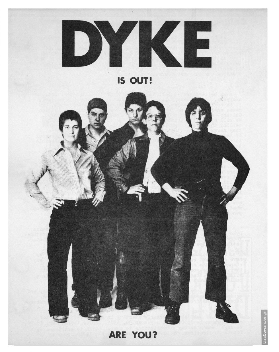 Liza Cowan, DYKE, A Quarterlyflyer. 1974.