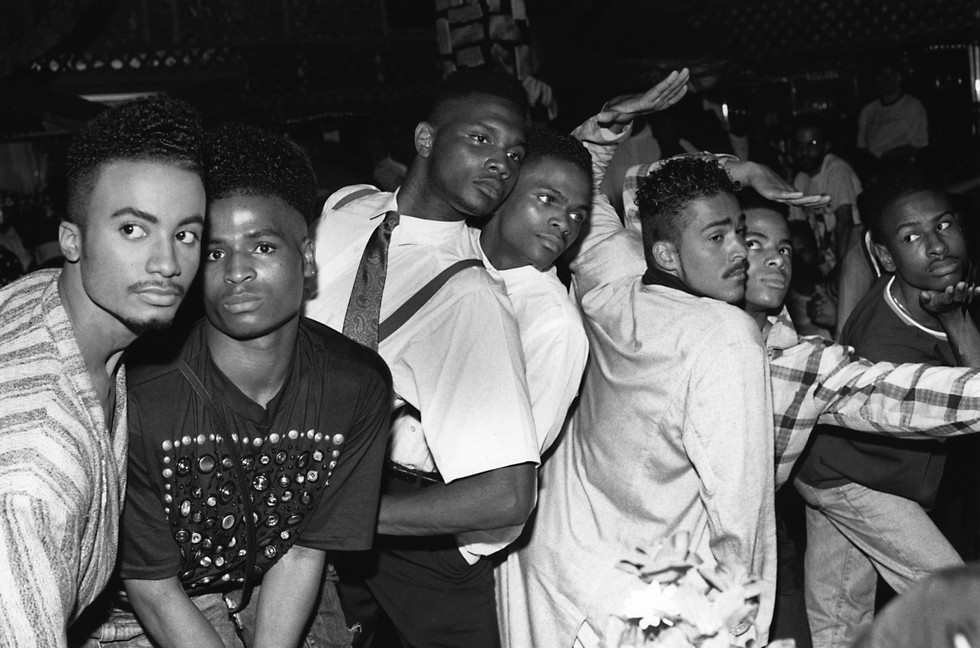 Chantal Regnault, Photo of (from left,) Whitney Elite, Ira Ebony, Stewart and Chris LaBeija, Ian and Jamal Adonis, Ronald Revlon, House of Jourdan Ball, New Jersey. 1989.