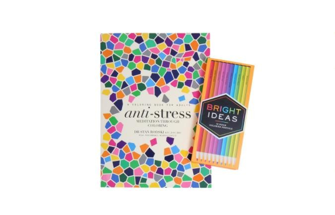 "Chronicle Books ""Anti-Stress"" Coloring Book With Neon Coloring Pencils"