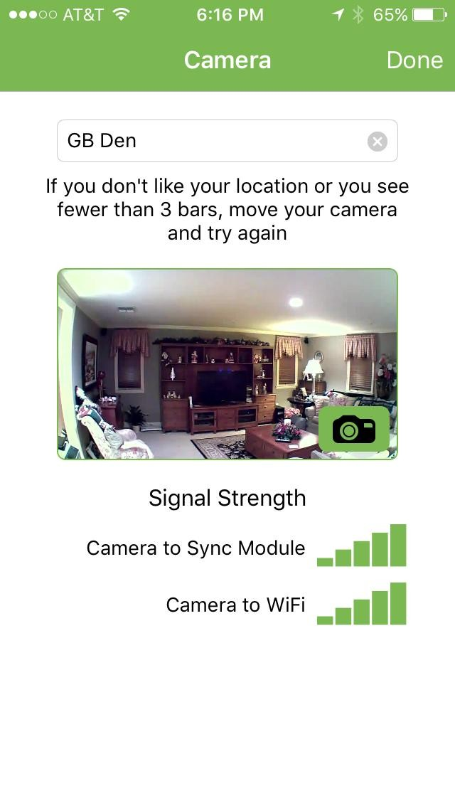 Picture of Blink mobile app camera
