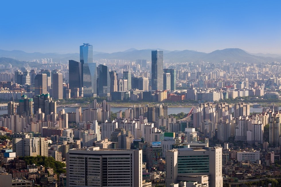 Skyline view of Seoul in South Korea