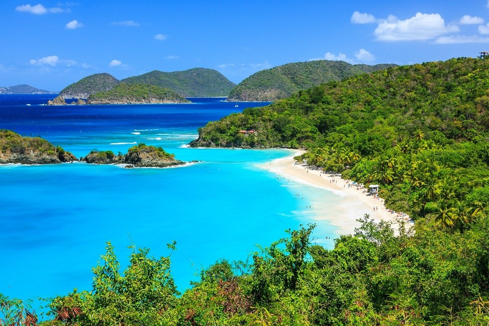 Ocean and beach view of the Virgin Islands