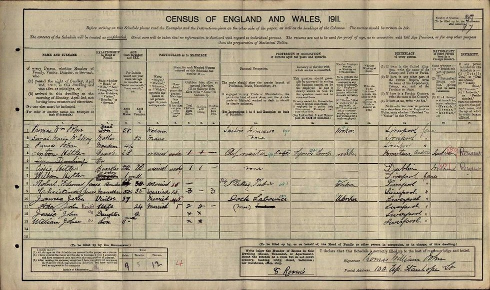 1911 Census of England and Wales