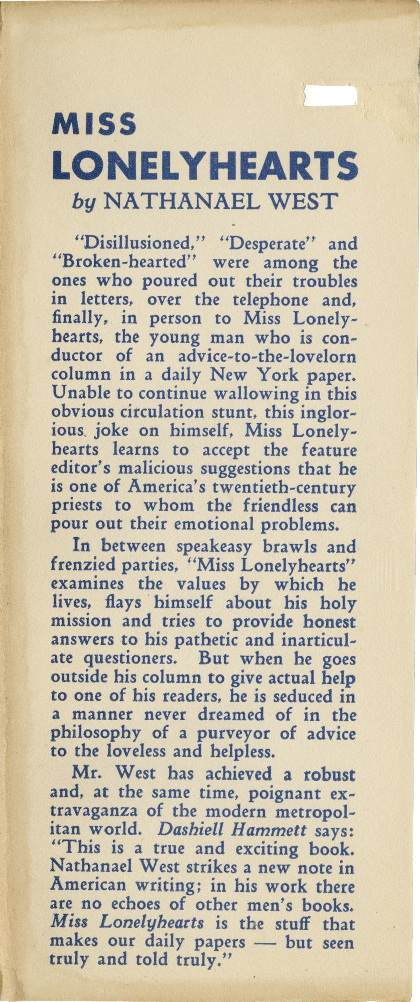 ​Miss Lonelyhearts by Nathaniel West, 1933