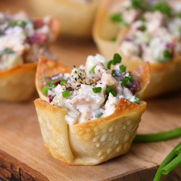 These quick chicken salad bites make for a crowd pleasing for Canape ideas for parties