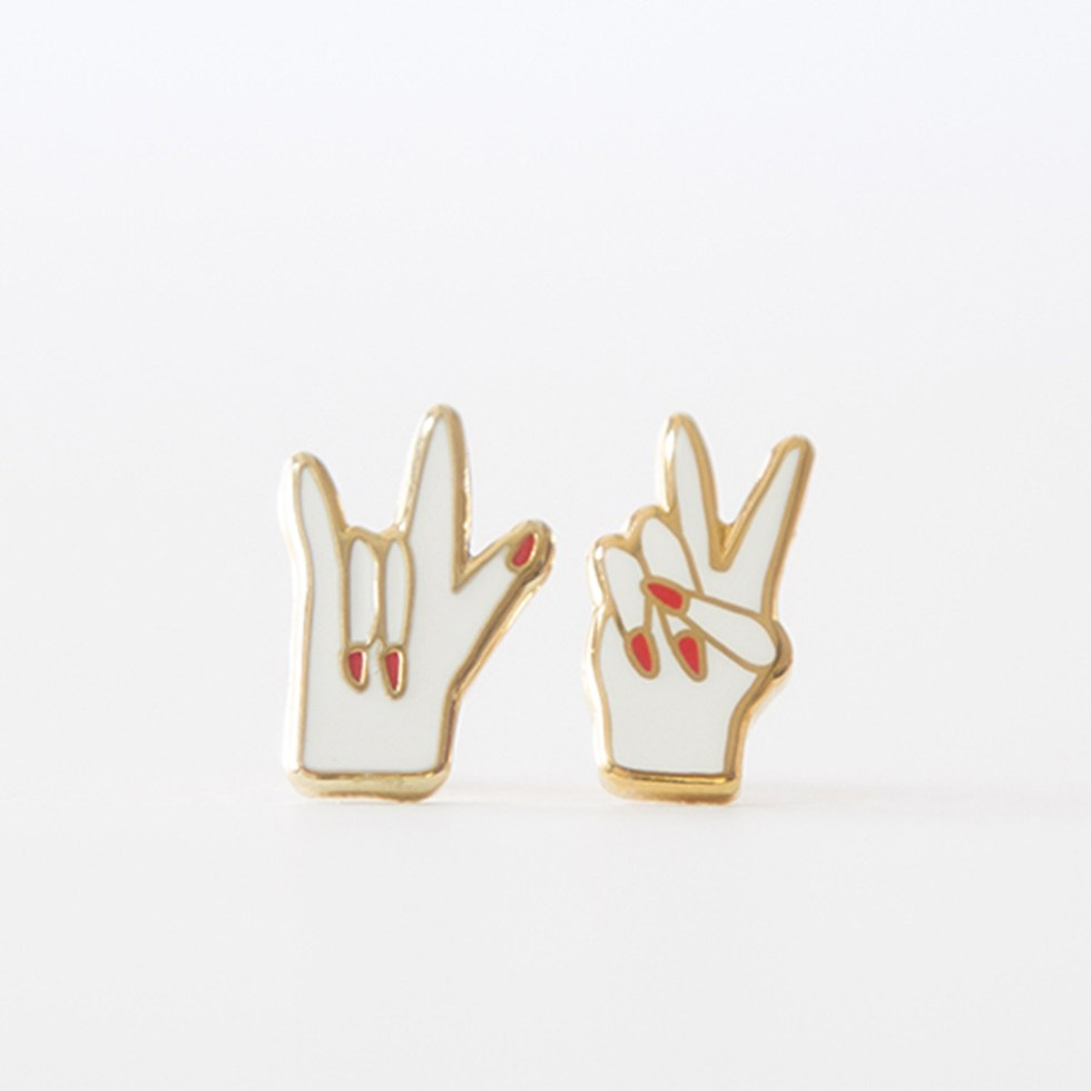 Peace & Love Earrings from Yellow Owl Workshop