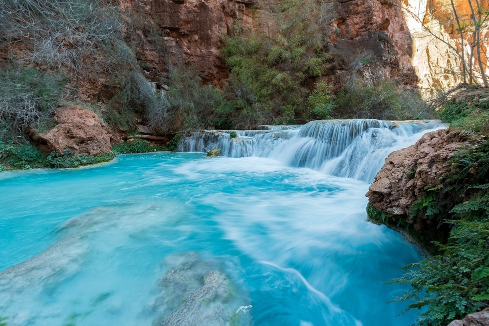 The blue-green waters in Havasu Falls.