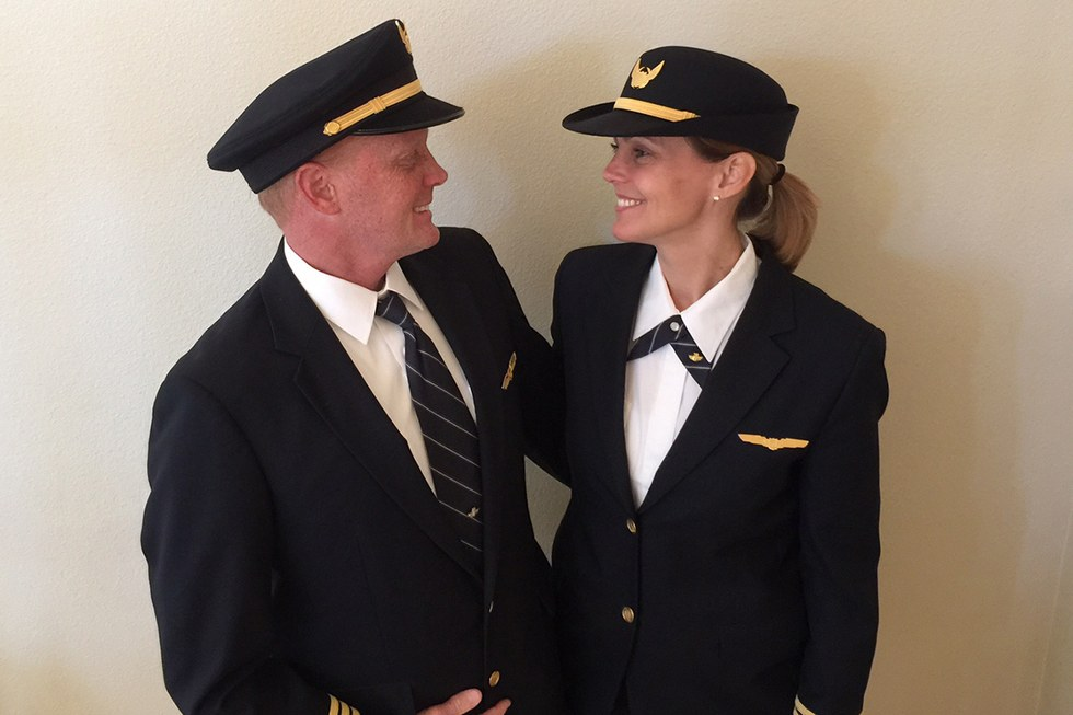 Peter Methot and Anna Lenhoff-Methot, a husband and wife pilot team