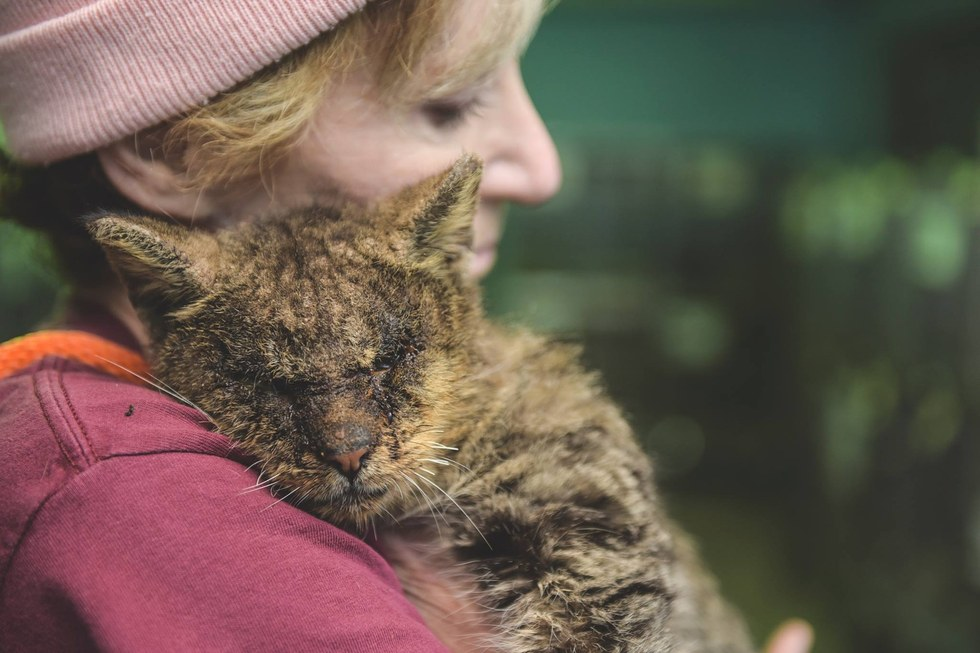 Woman hugs cat with mange