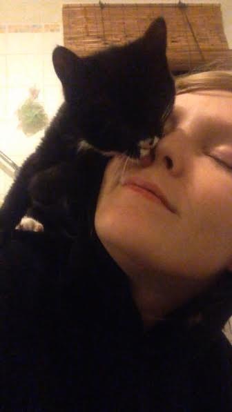 Elsa the kitten licking her mom's face