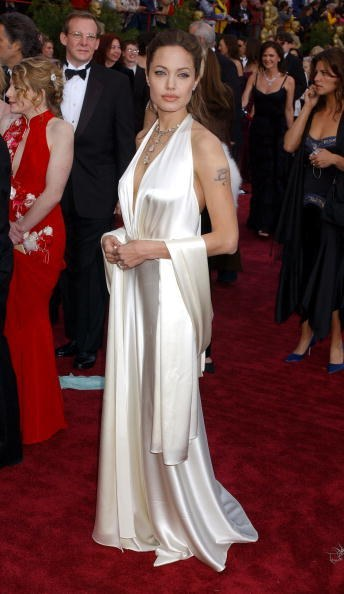 Angelina Jolie in Marc Bouwer at the 76th Academy Awards (2004)