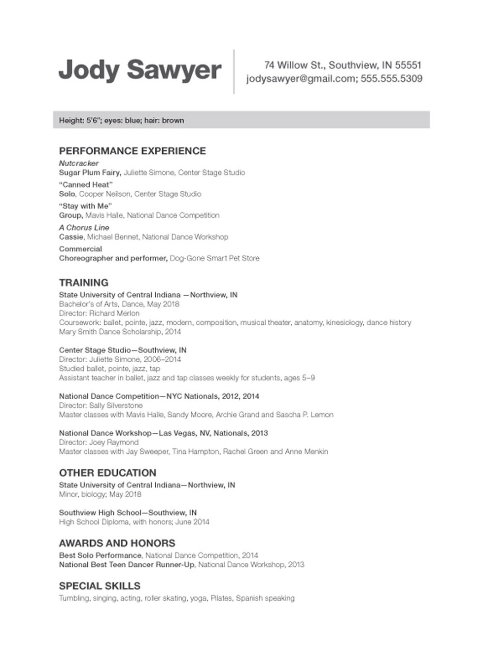 choreographer sample resume resume cv cover letter - Sample Dancer Cover Letter