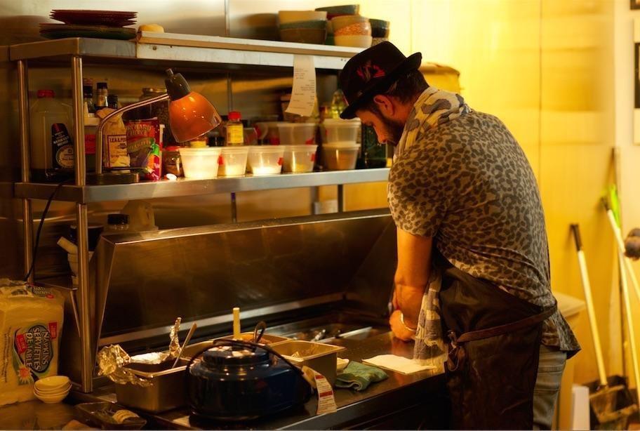 Almoznino in his kitchen
