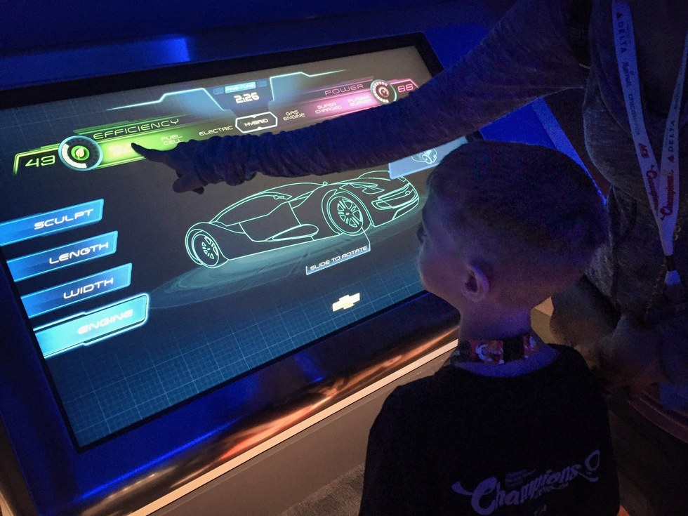 Carson builds a car for the Test Track ride at Epcot Theme Park