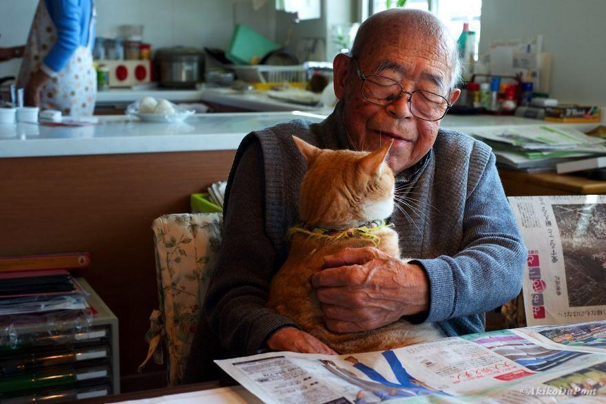 A Grandfather and His Cat