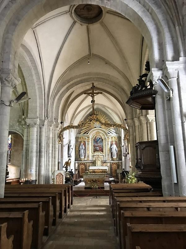 Inside of the Angoville-au-Plain church in Normandy