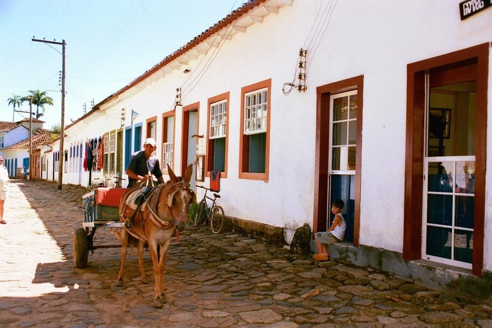 Donkey pulls a cart along cobblestone streets in Paraty