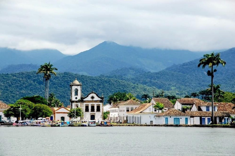 View of the town of Paraty from the sea.