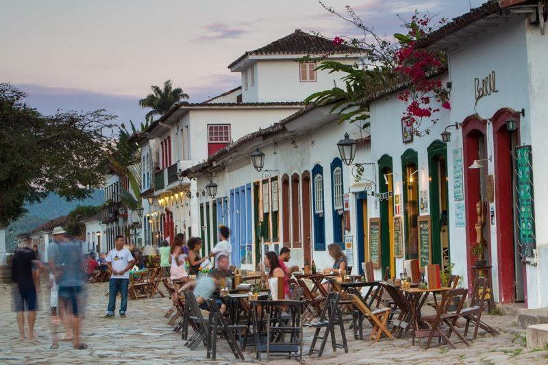 Outdoor restaurant in Paraty, Brazil.