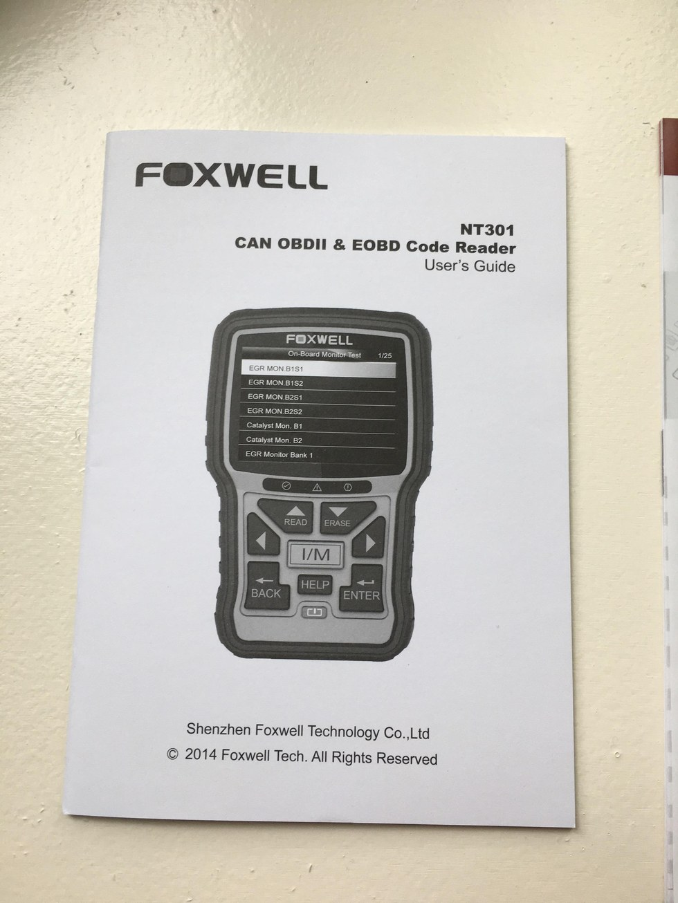 Foxwell NT301 OBD2 Code Reader User Guide