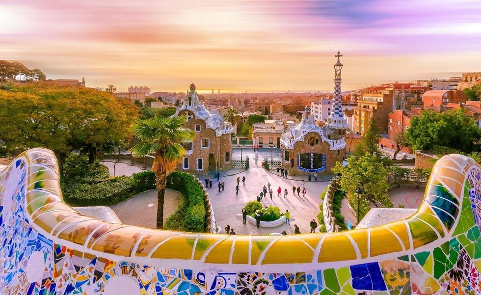 Park Guell at sunset in Barcelona, Spain