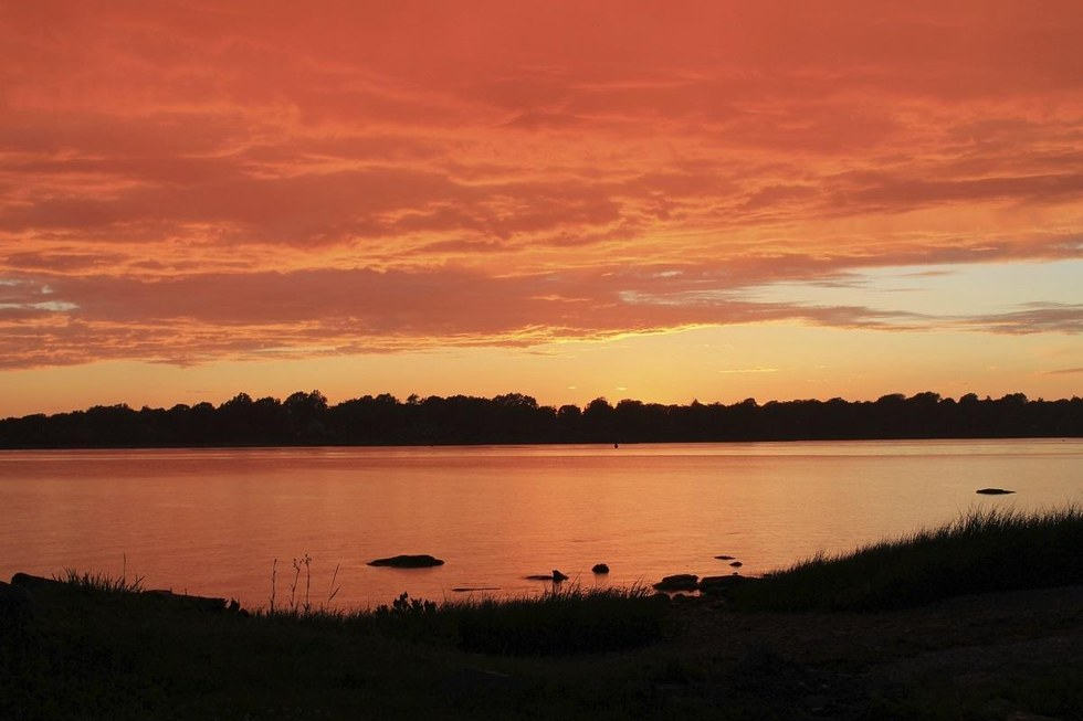Sunset overlooking the water in Bristol, Rhode Island