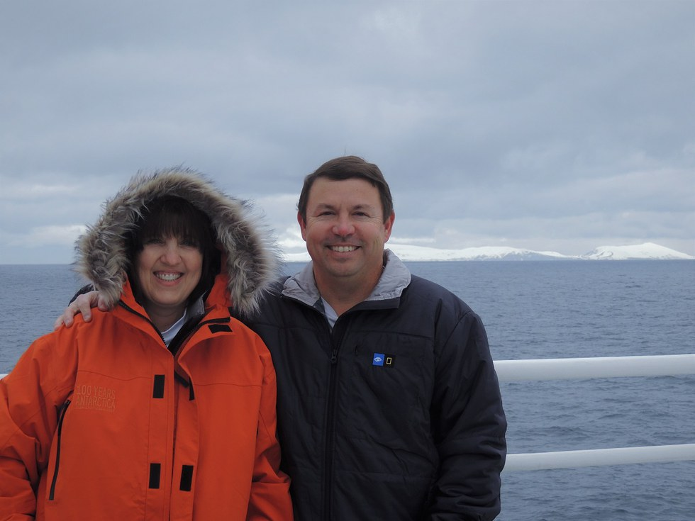 Antarctica Sabra and Scott on deck of  the National Geographic Explorer